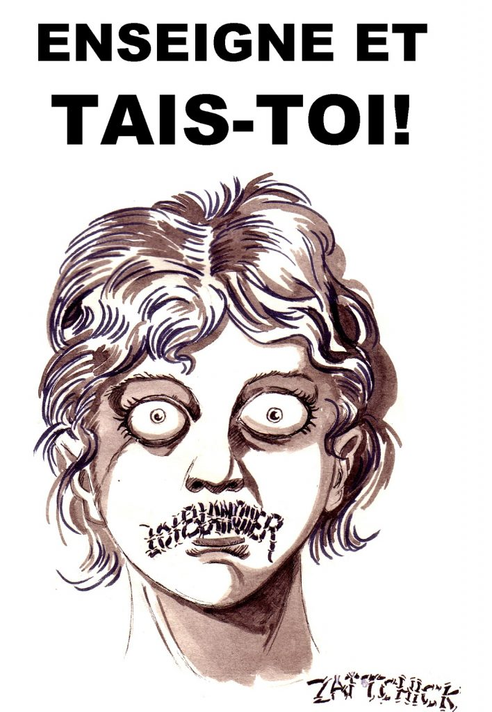 dessin d'actualité humoristique sur la loi Blanquer et le devoir de réserve des enseignants