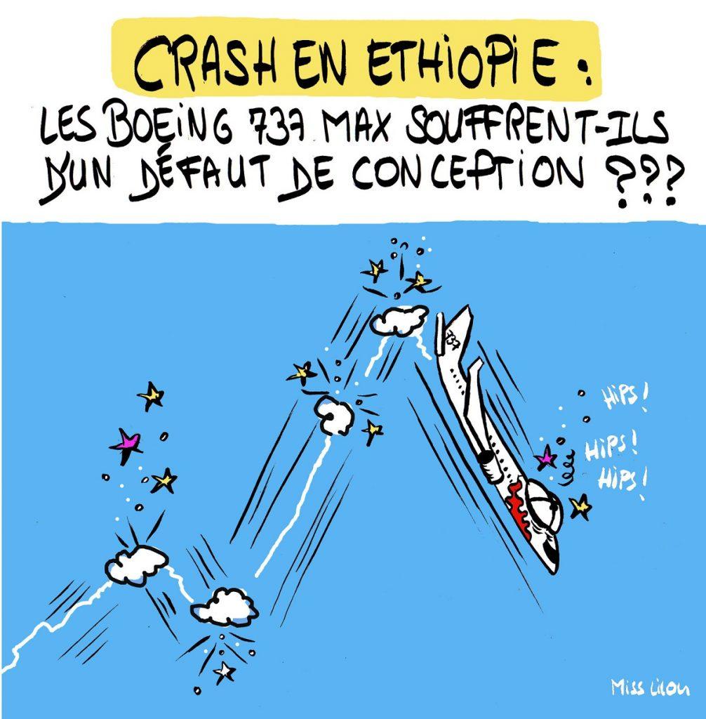 dessin d'actualité humoristique sur le crash d'un Boeing 737 MAX en Éthiopie