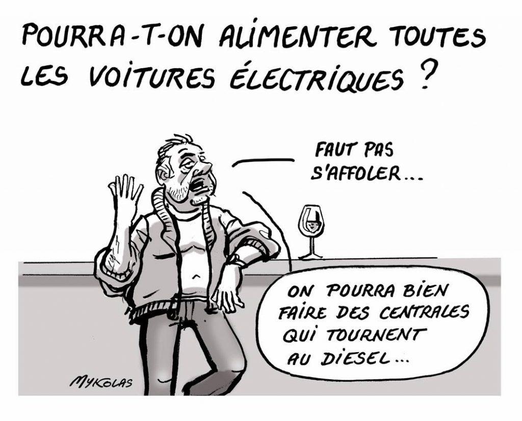 dessin d'actualité humoristique sur les voitures électriques
