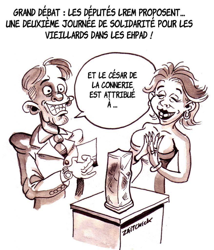 dessin d'actualité humoristique sur la proposition d'une deuxième journée de solidarité par les députés LREM