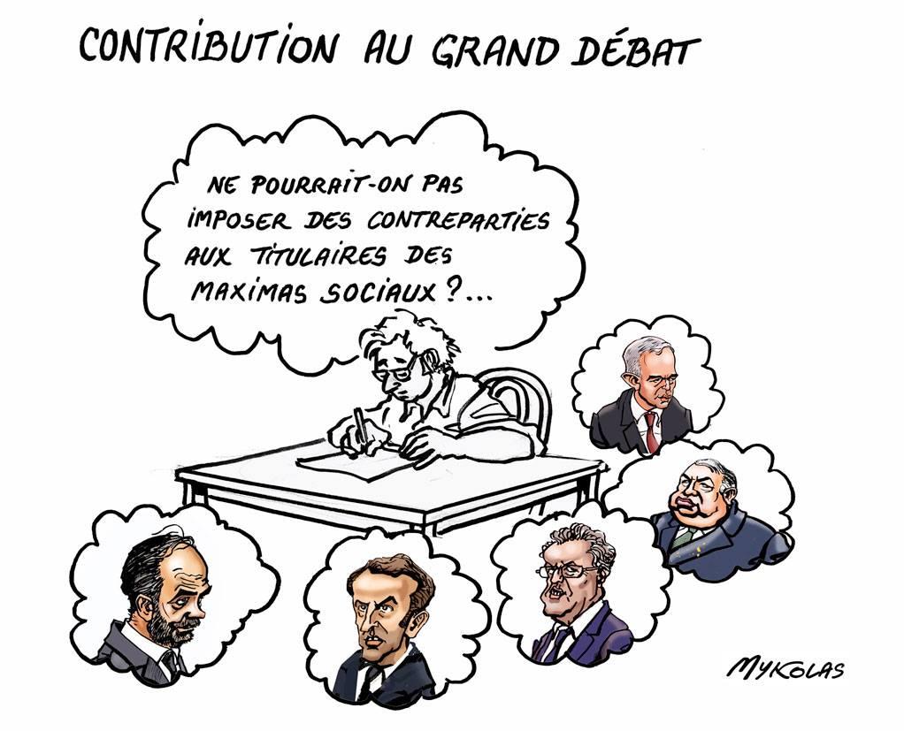 dessin d'actualité humoristique sur le Grand Débat National et les titulaires des maxima sociaux