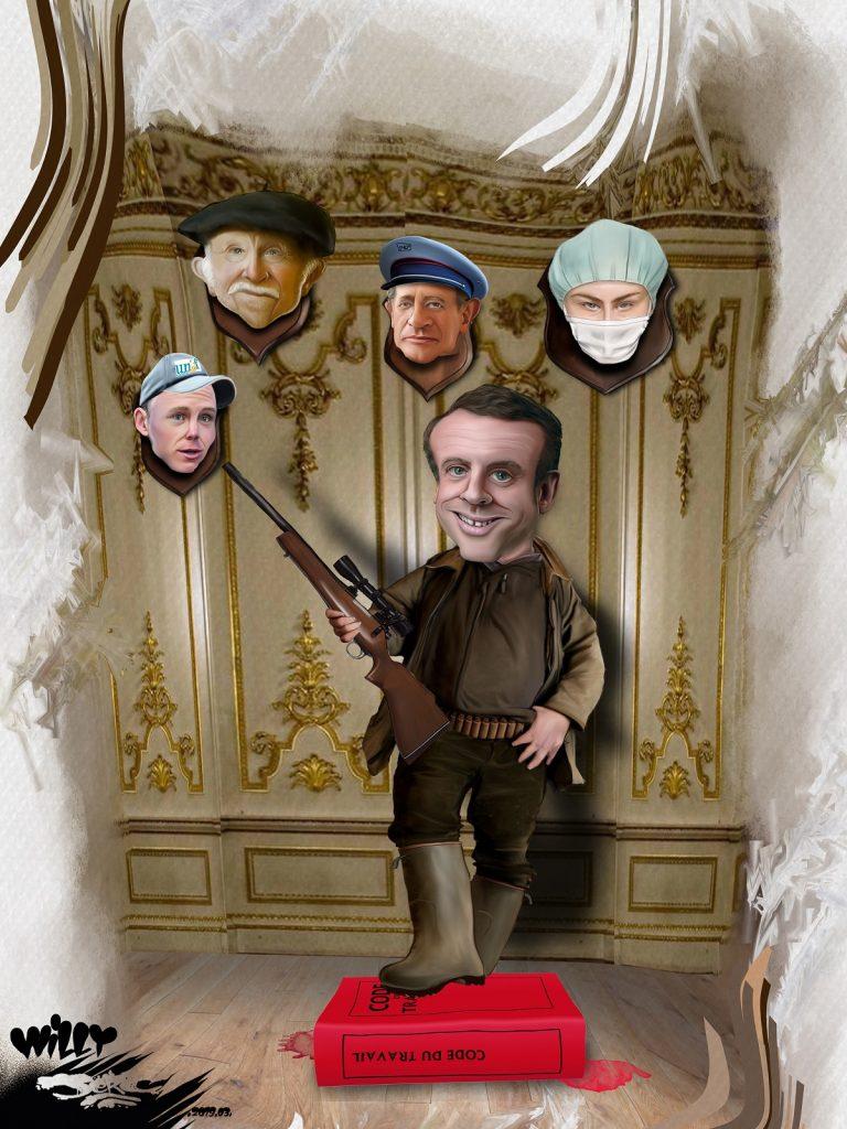 dessin d'actualité humoristique sur la casse du modèle social français par Emmanuel Macron