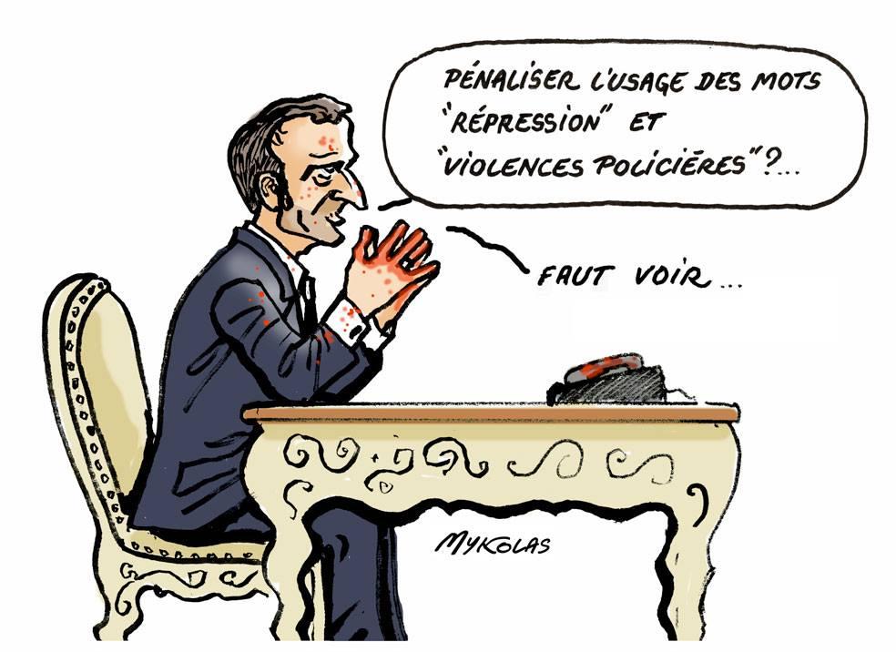 dessin d'actualité humoristique sur les mots qu'on ne peut pas prononcer dans un état de droit d'après Emmanuel Macron