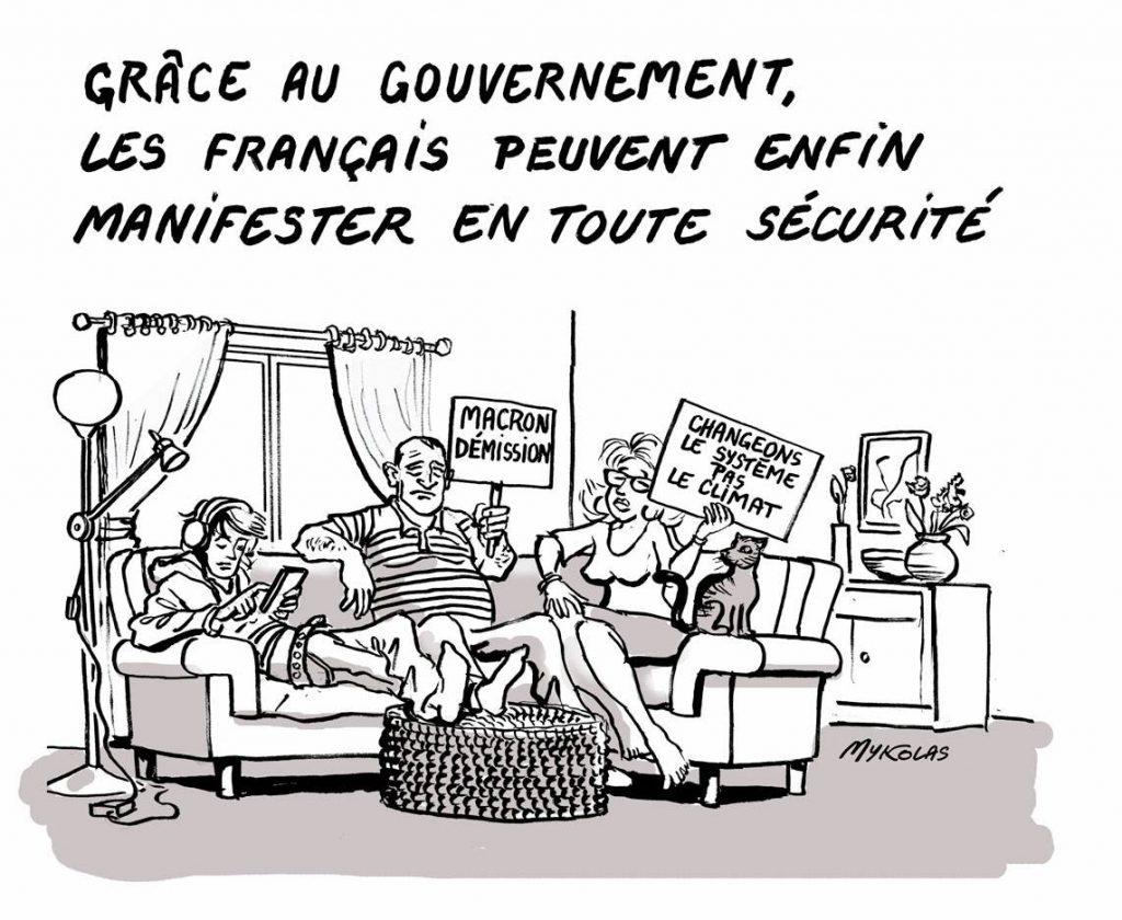 dessin d'actualité humoristique sur la restriction de la liberté de manifester