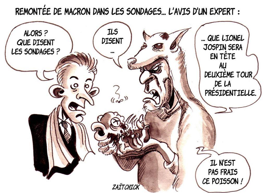 dessin d'actualité humoristique sur la remontée d'Emmanuel Macron dans les sondages