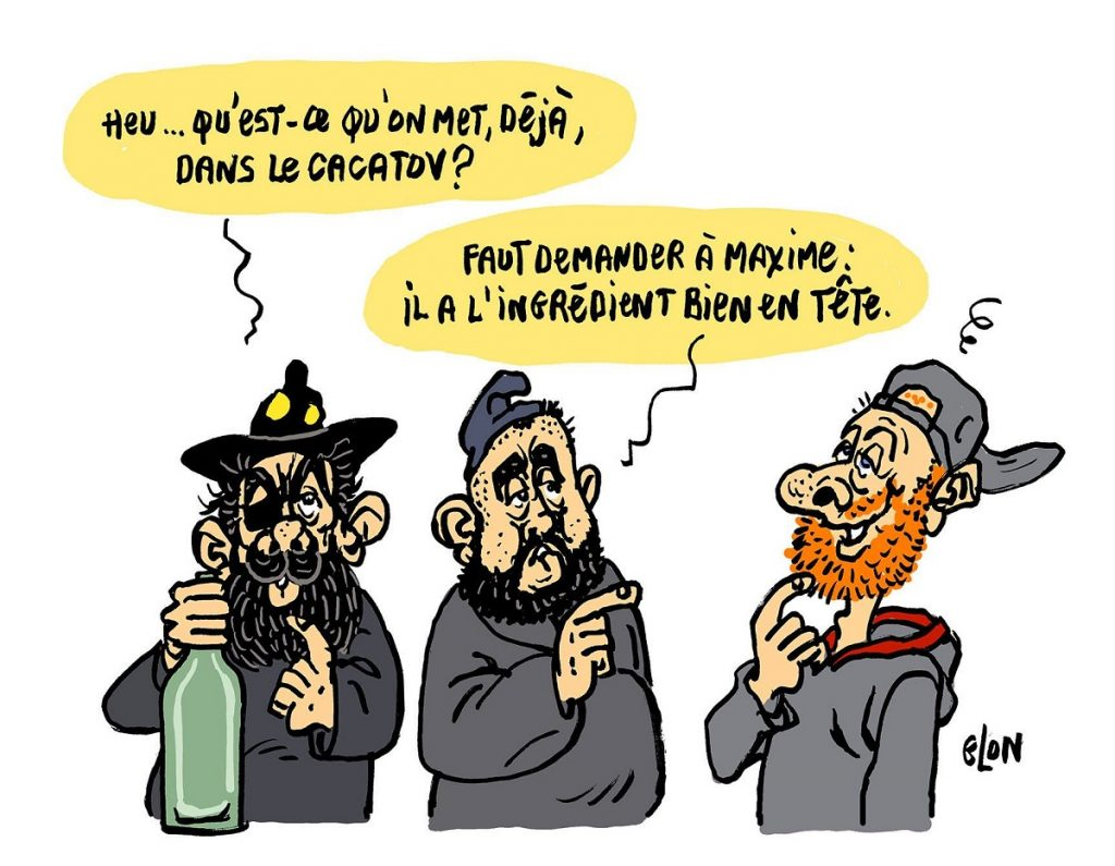dessin d'actualité humoristique sur Jérôme Rodrigues, Maxime Nicolle et Éric Drouet s'interrogeant sur la composition du cacatov