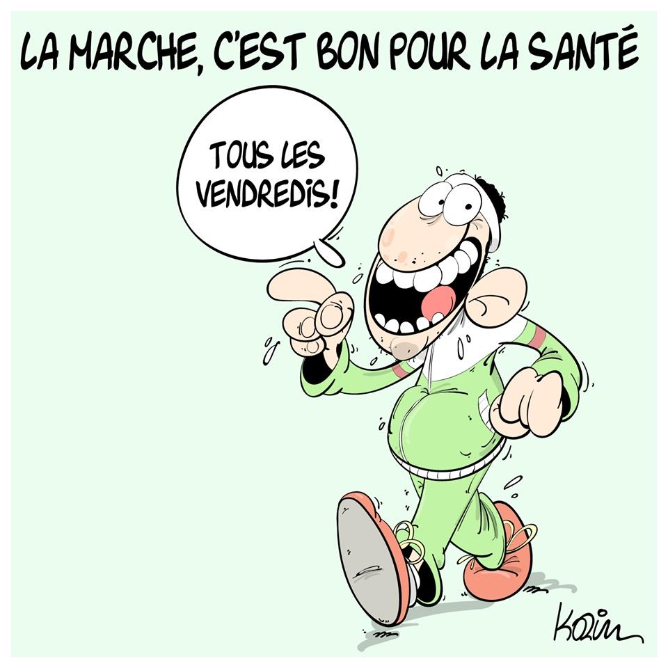 dessin d'actualité humoristique sur la marche du vendredi