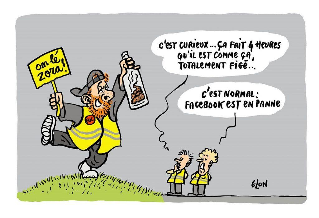 dessin d'actualité humoristique sur Maxime Nicolle victime de la panne Facebook