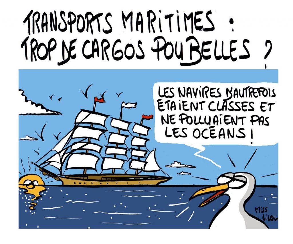 dessin d'actualité humoristique sur les transports maritimes