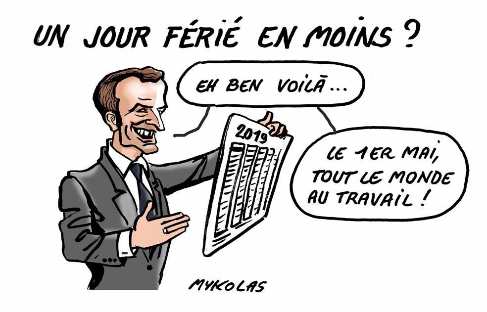 dessin d'actualité humoristique sur la suppression d'un jour férié par Emmanuel Macron