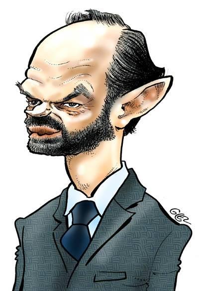 caricature-portrait d'Édouard Philippe par Glez