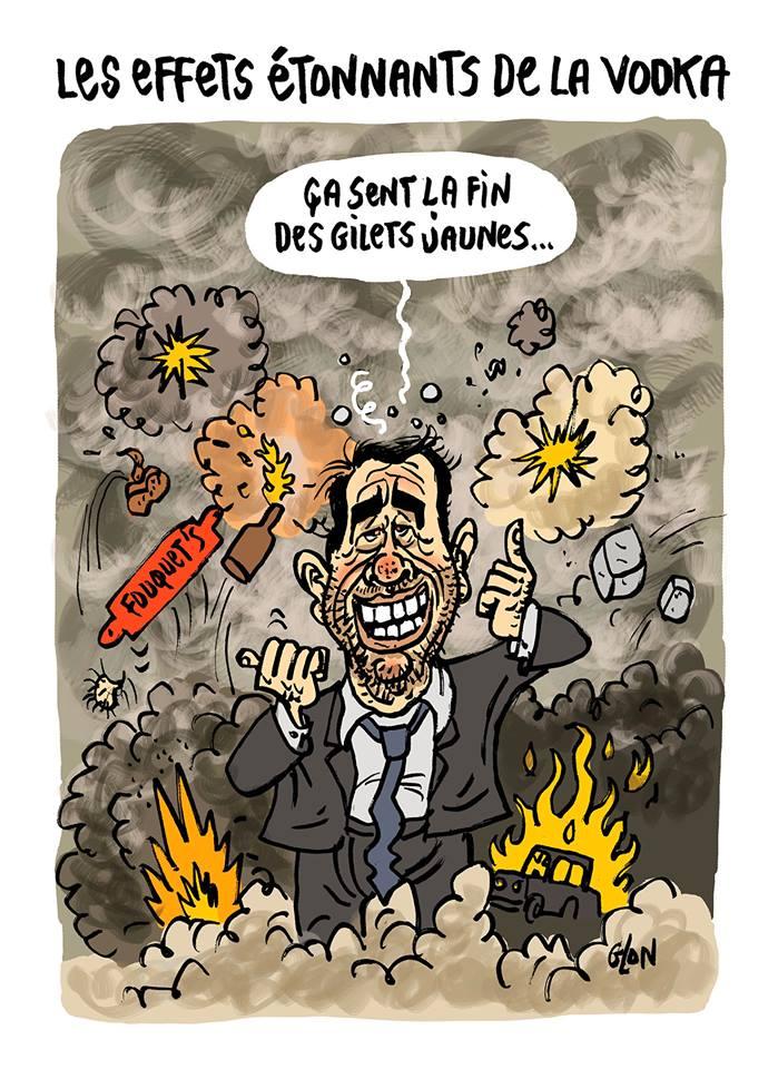 dessin d'actualité humoristique sur Christophe Castaner et les manifestations des gilets jaunes lors de l'acte 18