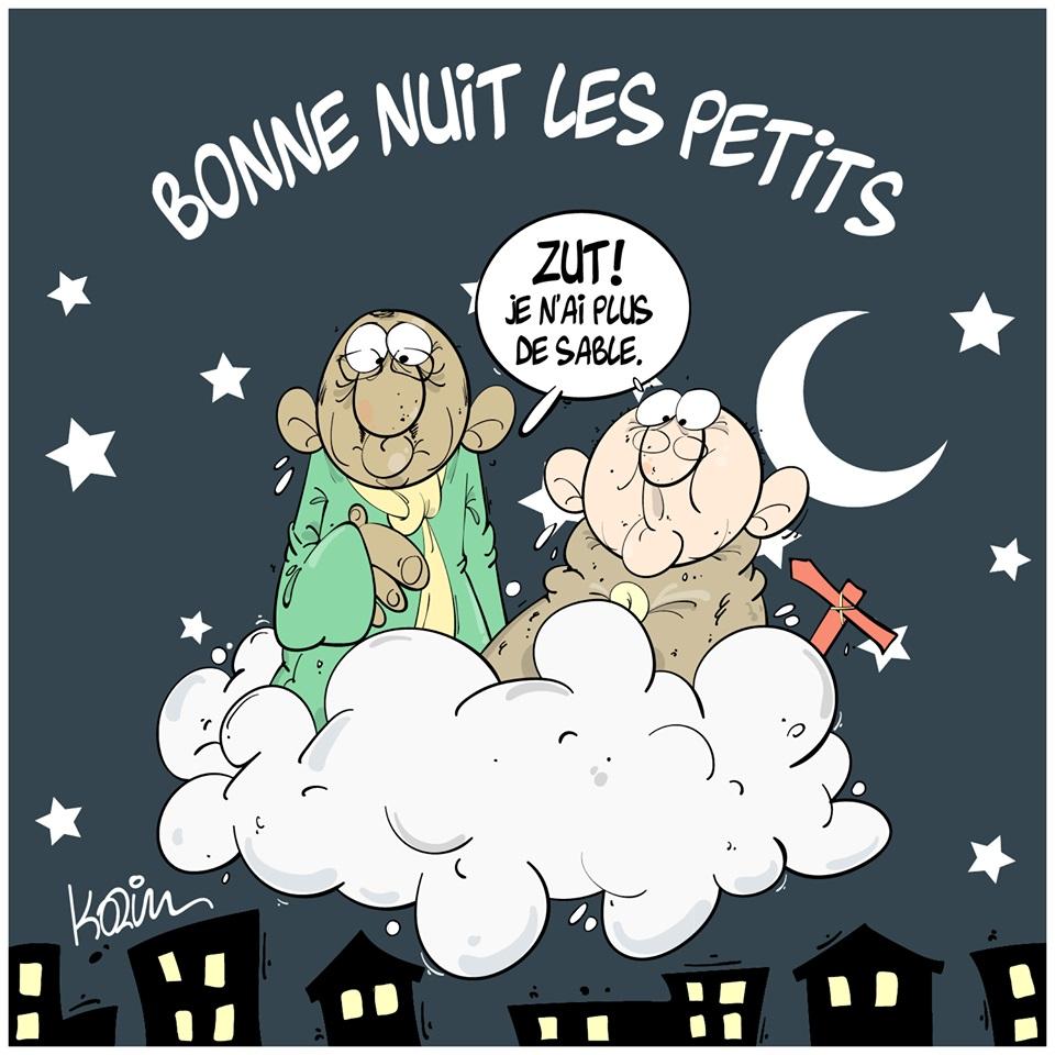 desin d'actualité humoristique du premier ministre algérien s'aperçevant qu'il n'est plus possible d'endormir le peuple