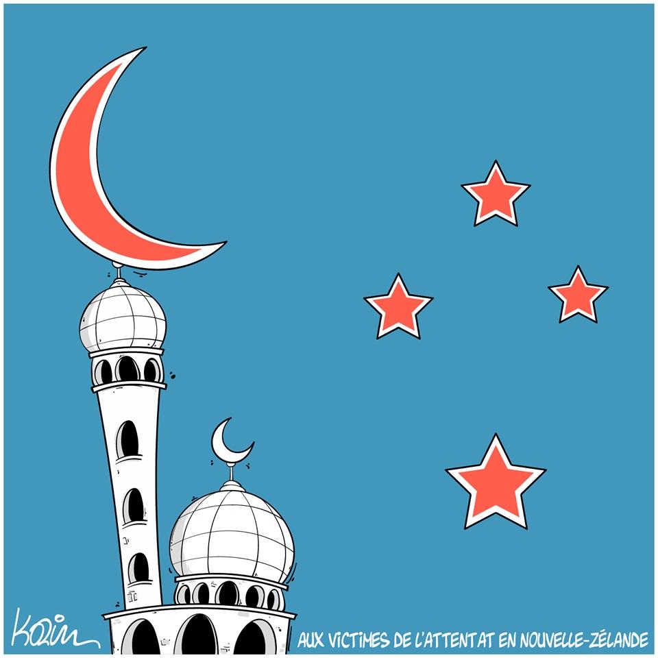 dessin d'actualité en hommage à l'attentat contre deux mosquées à Christchurch en Nouvelle-Zélande