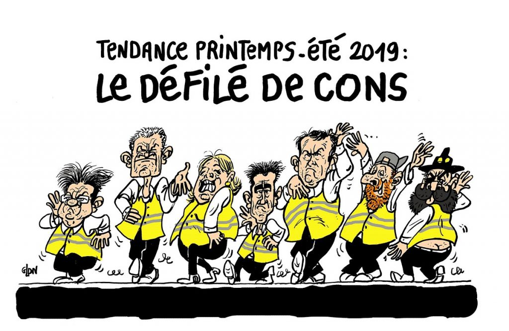 dessin d'actualité humoristique sur les gilets jaunes