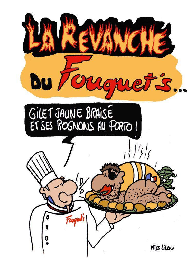 dessin d'actualité humoristique sur l'incendie du Fouquet's lors de l'acte 18