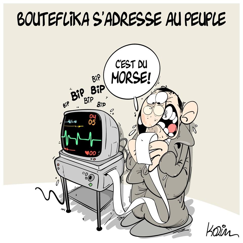 dessin d'actualité humoristique sur Abdelaziz Bouteflika s'adressant au peuple algérien