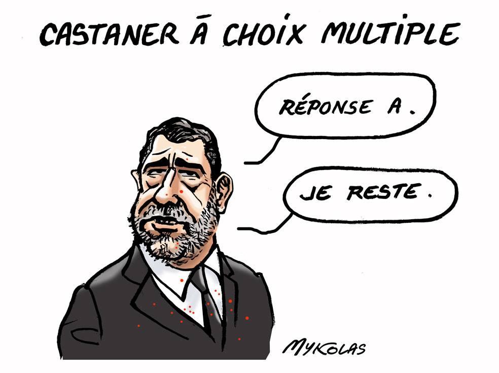 dessin d'actualité humoristique sur l'audition de Christophe Castaner après les manifestations de l'acte 18