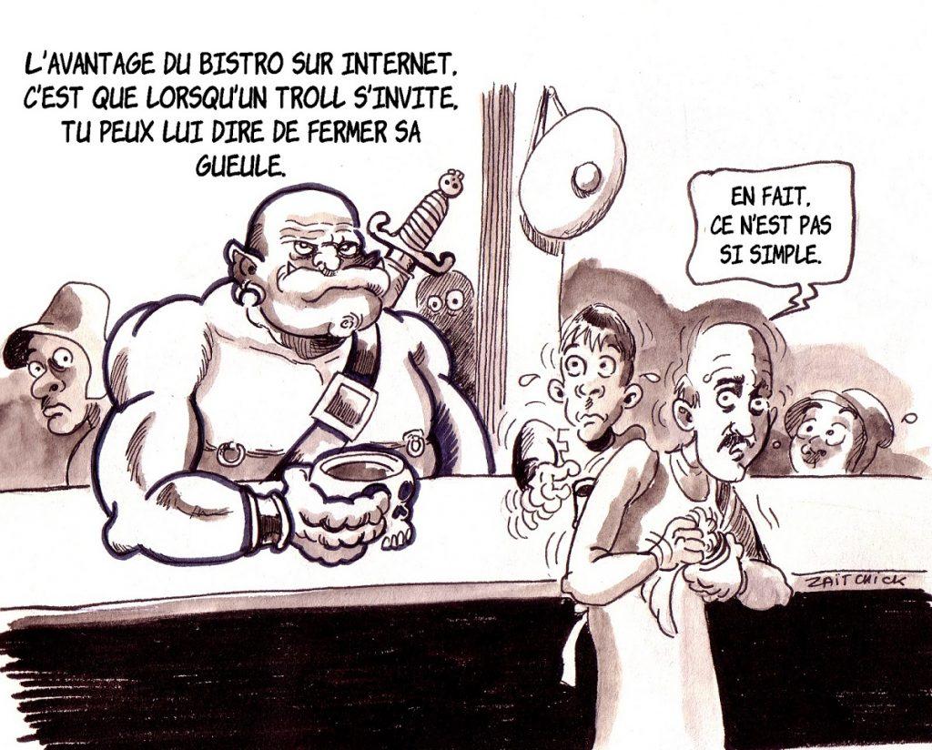 dessin d'actualité humoristique sur les Trolls d'Internet