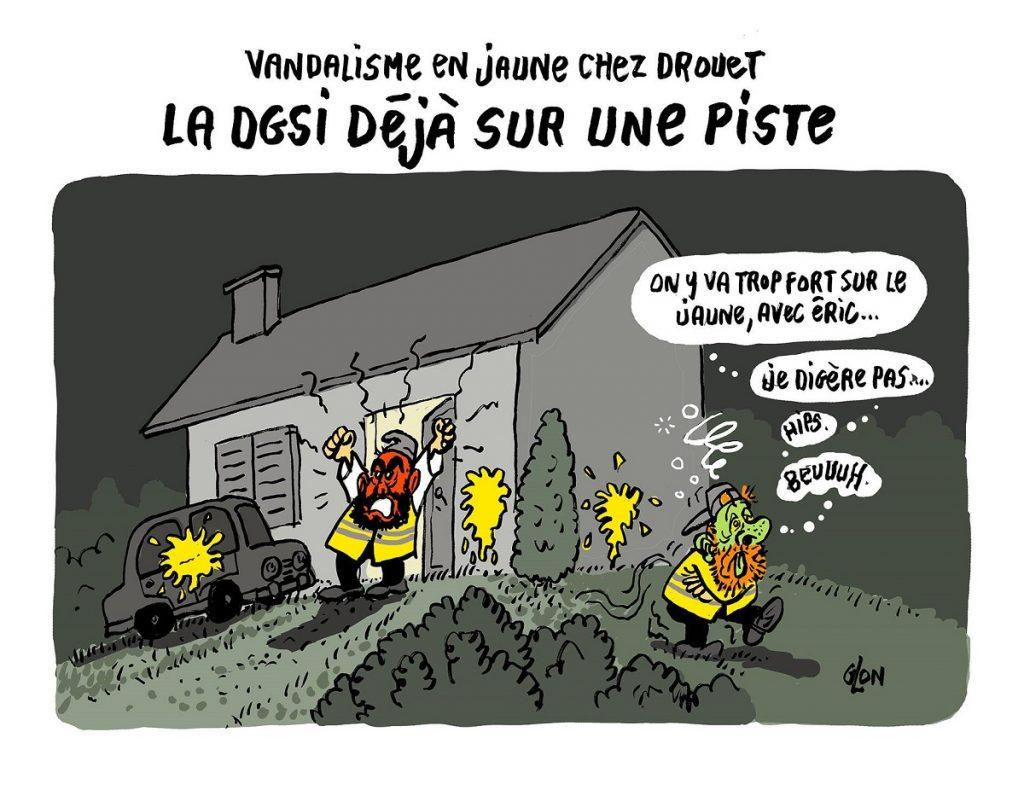 dessin d'actualité humoristique sur le domicile du gilet jaune Éric Drouet vandalisé à la peinture jaune