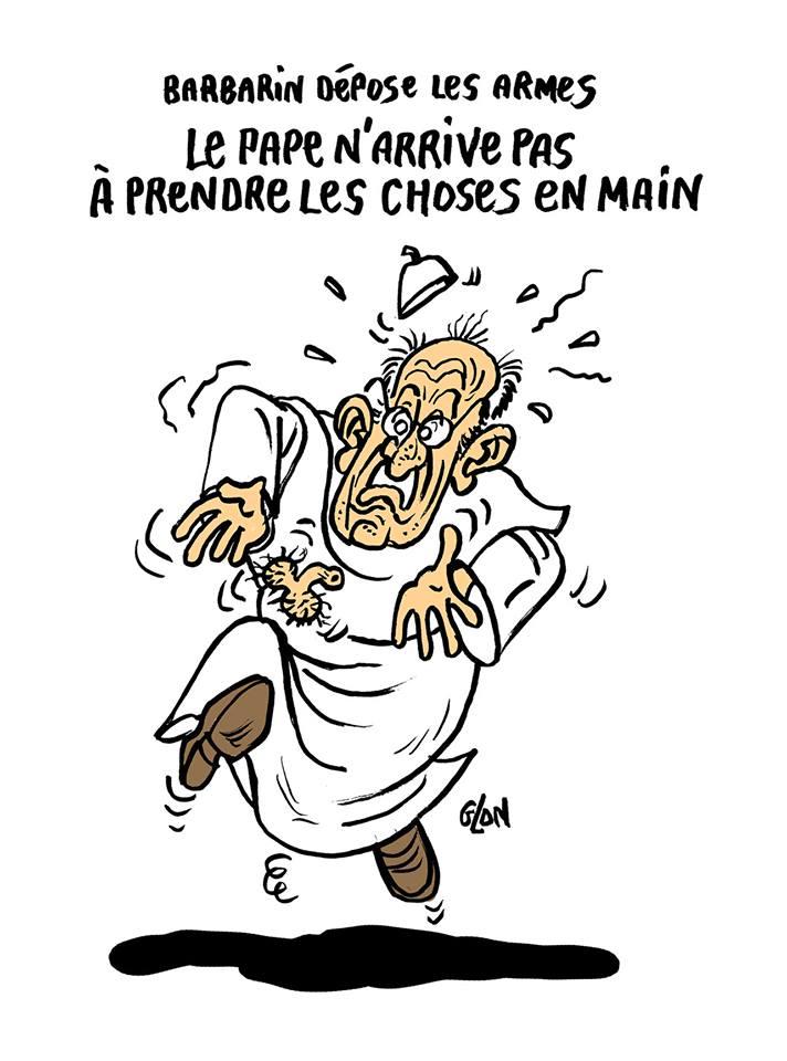 dessin d'actualité humoristique du Pape François face à la condamnation et à la démission du Cardinal Barbarin