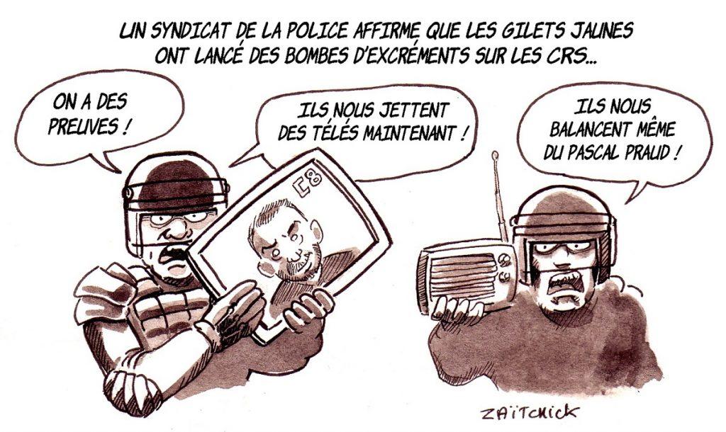 dessin d'actualité humoristique sur l'utilisation par les gilets jaunes de bombes d'excréments