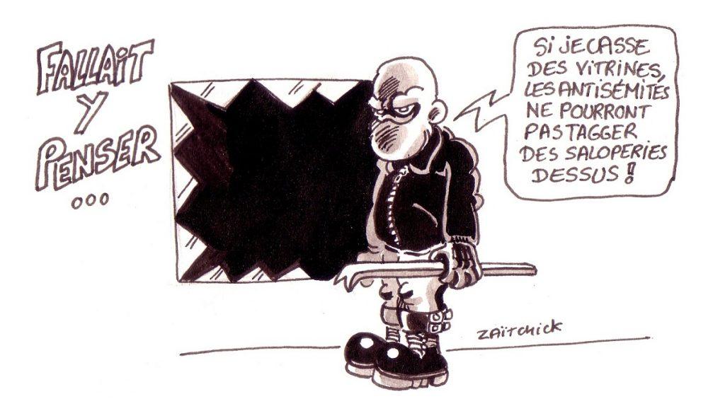 dessin d'actualité humoristique sur les actes antisémites et les actes de vandalisme