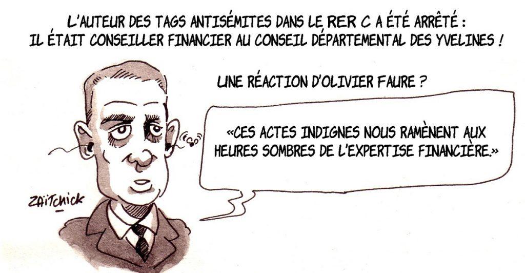 dessin d'actualité humoristique sur Olivier Faure et les tags antisémites dans le RER C