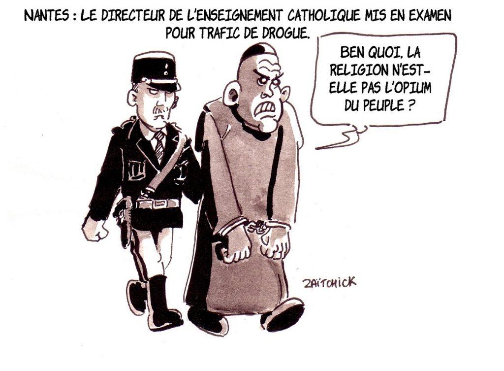 dessin d'actualité sur la mise en examen pour trafic de drogues de Philippe Cléac'h, directeur de l'enseignement catholique de Nantes