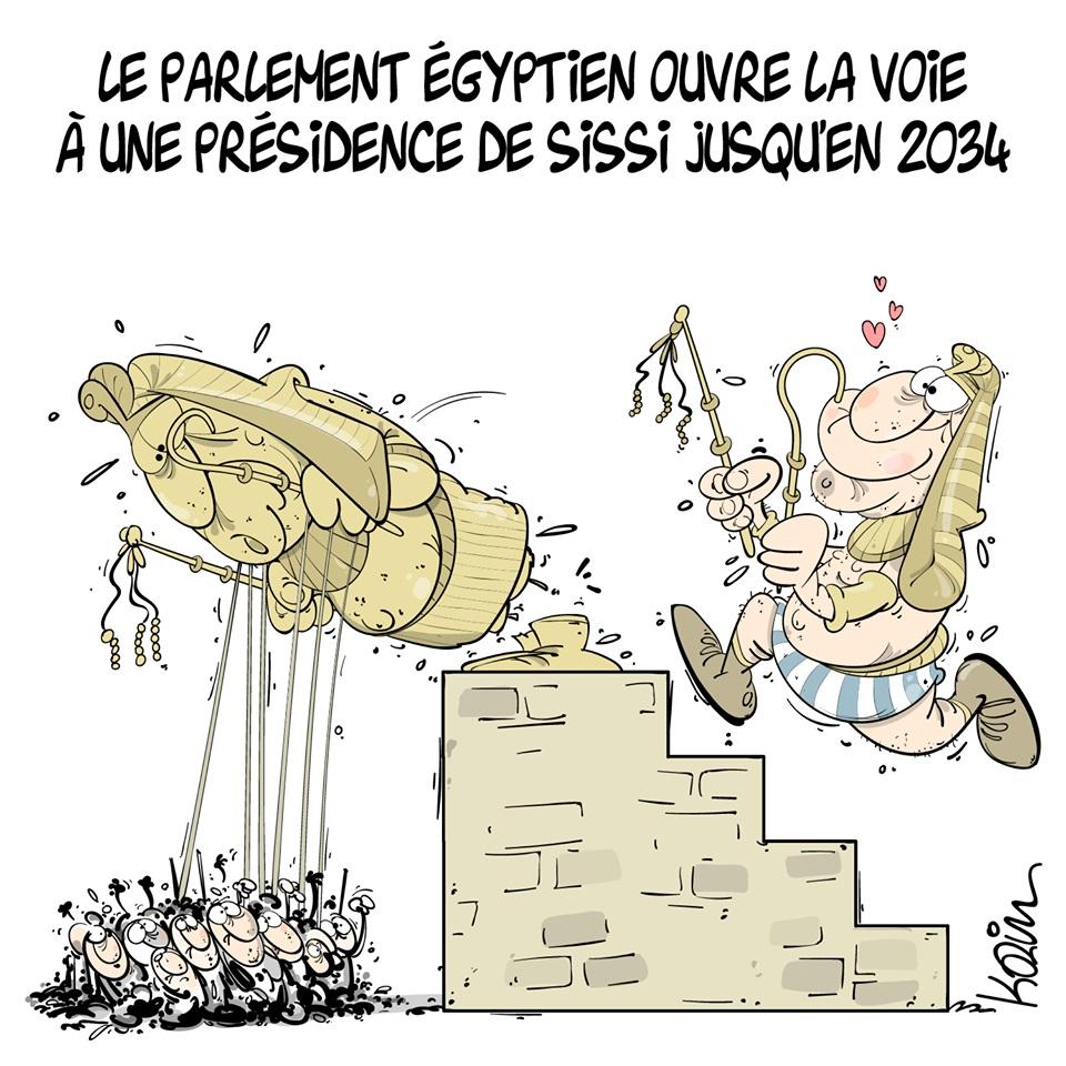 dessin d'actualité humoristique sur la présidence égyptienne et pharaonique d'Abdel Fattah al-Sissi