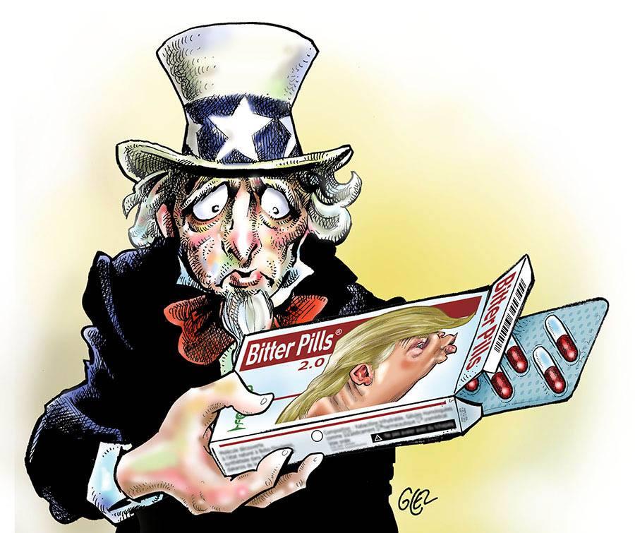 dessin drôle sur l'Oncle Sam confronté à la pilule amère qu'est Donald Trump