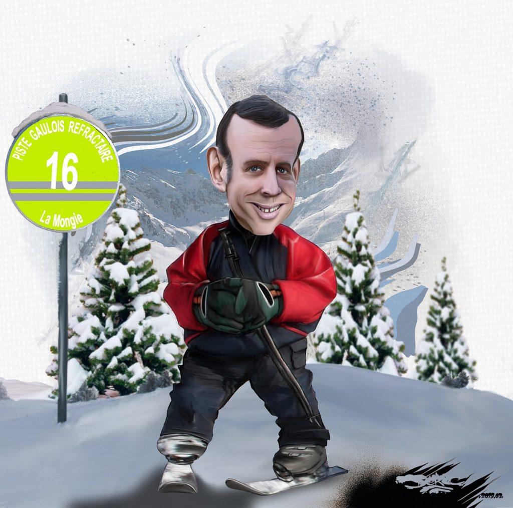 dessin d'actualité humoritsique sur le weekend au ski d'Emmanuel Macron pendant l'acte 18 des gilets jaunes