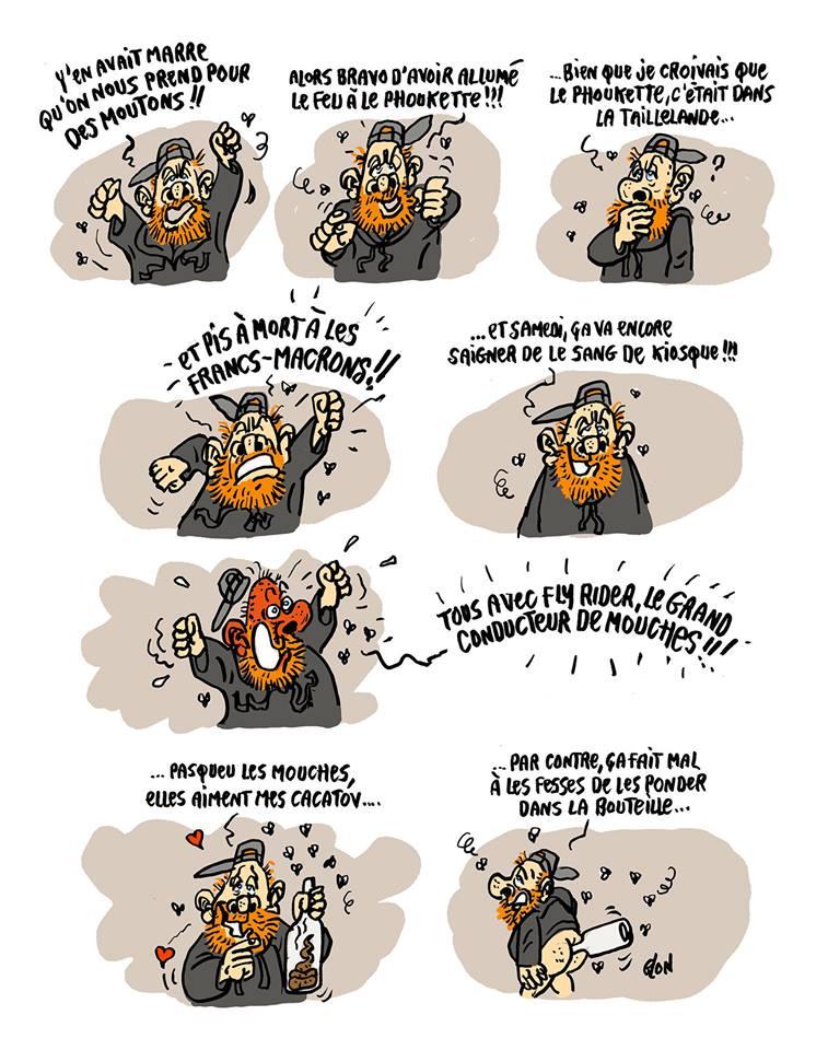 dessin d'actualité humoristique sur Maxime Nicolle dit Fly Rider