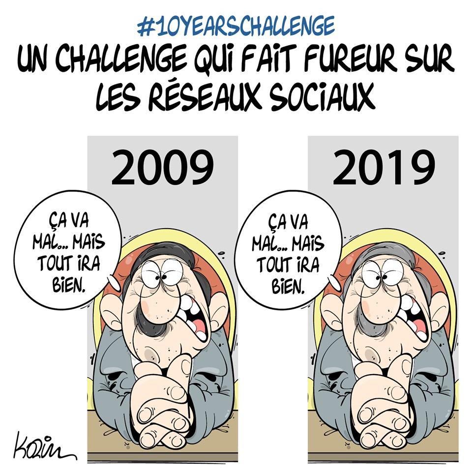 dessin d'actualité humoristique sur Abdelaziz Bouteflika et le #10YearsChallenge