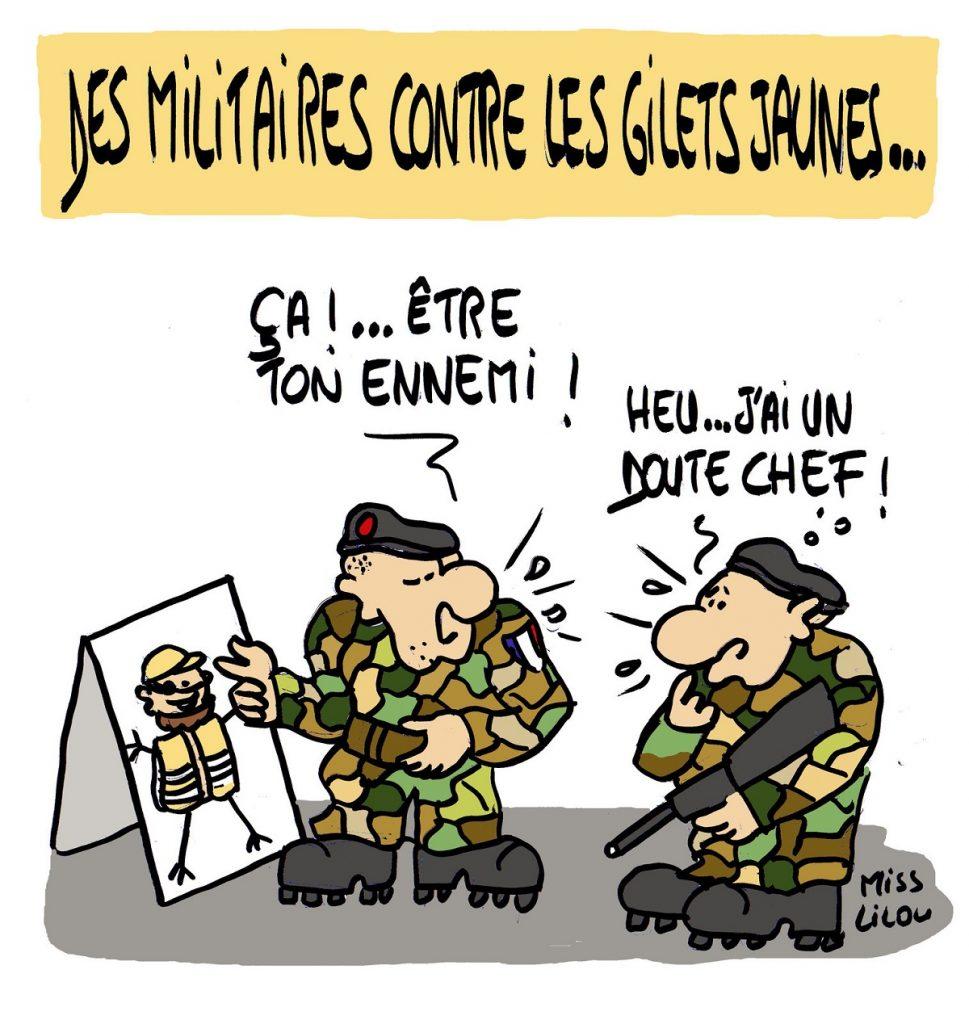 dessin d'actualité humoristique sur la mobilisation des militaires pour l'acte 19 des gilets jaunes