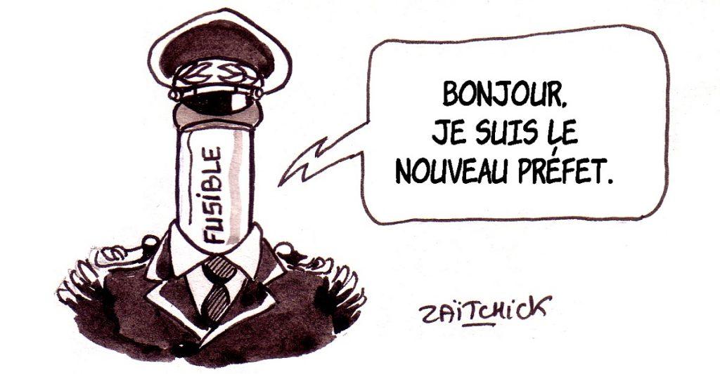 dessin d'actualité humoristique sur le limogeage de Michel Delpuech et la nomination de Didier Lallement en tant que nouveau préfet de police de Paris