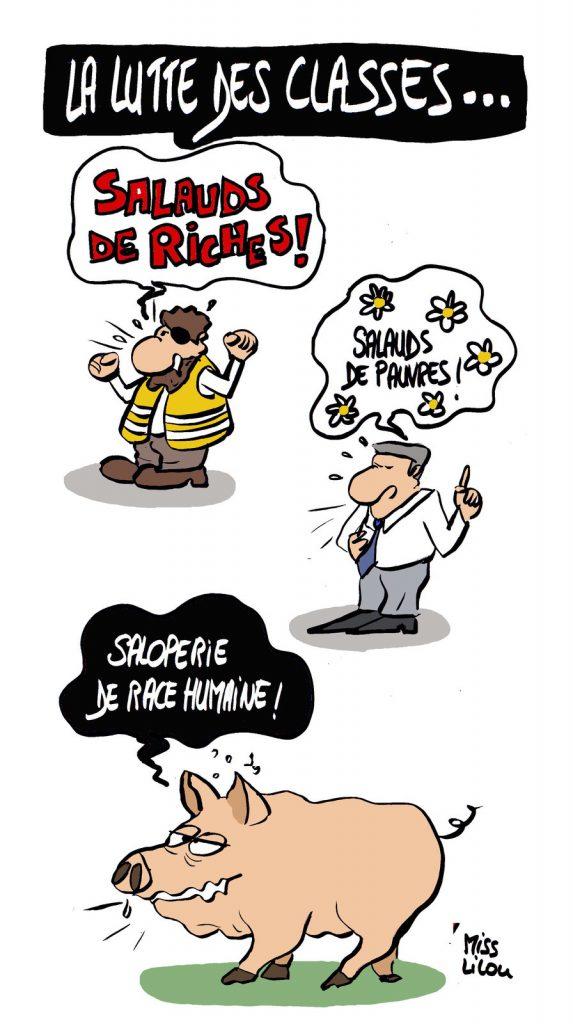 dessin d'actualité humoristique sur la lutte des classes