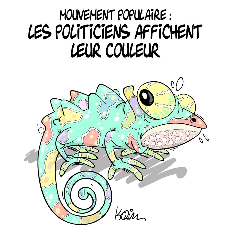 dessin d'actualité humoristique sur le mouvement populaire algérien