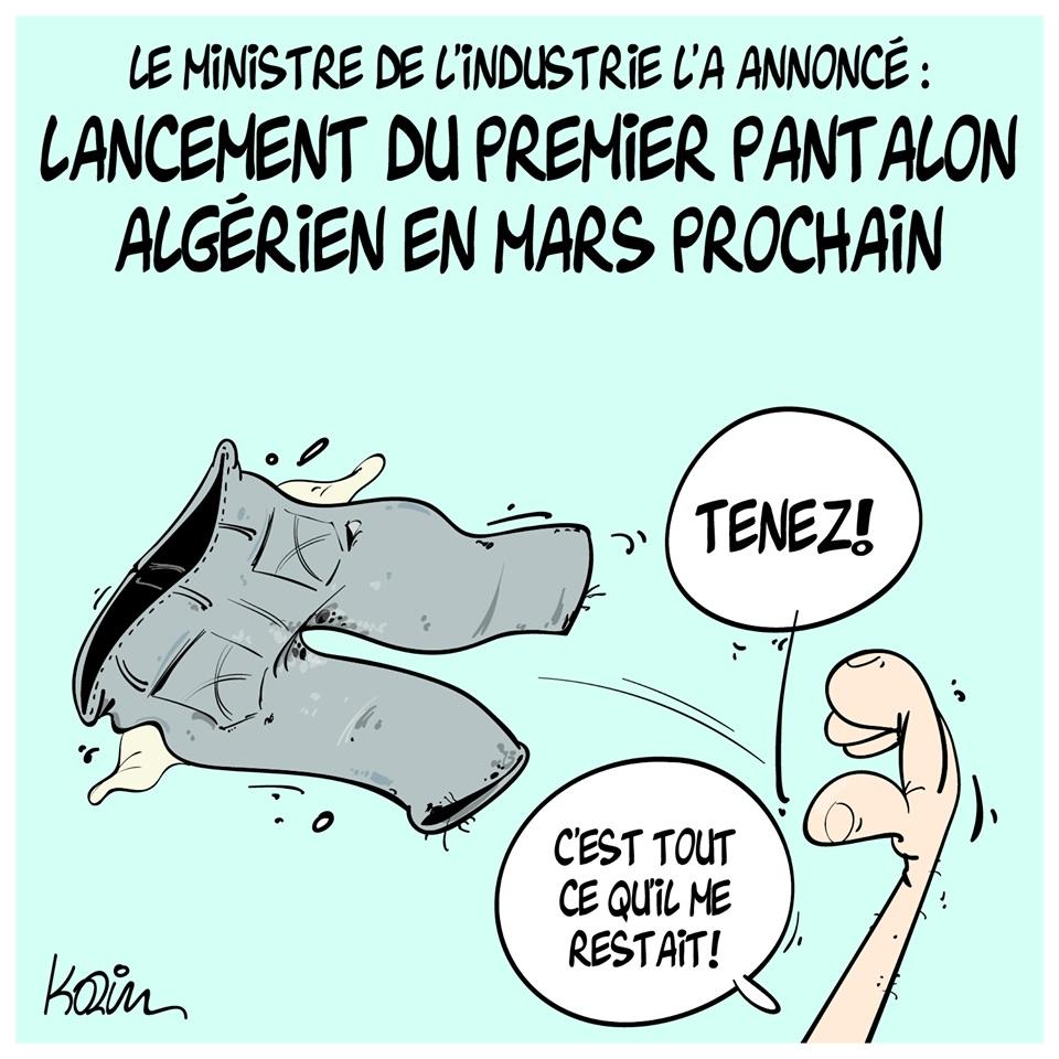 dessin d'actualité humoristique sur le lancement du premier pantalon algérien