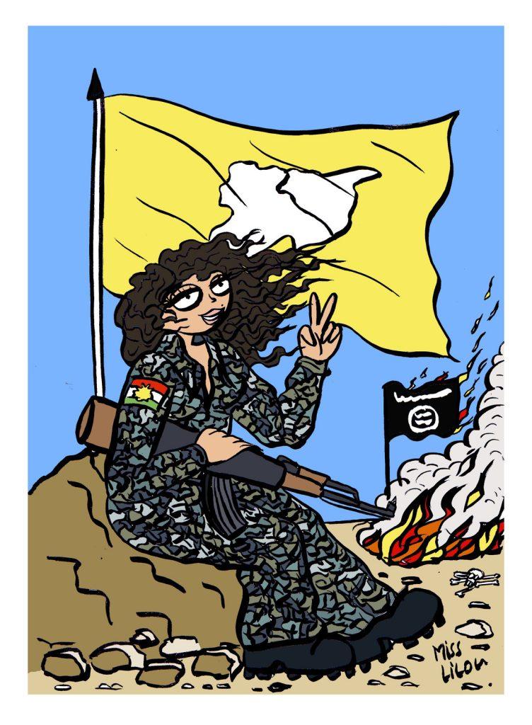 dessin d'actualité humoristique sur la fin du Califat de Daesh