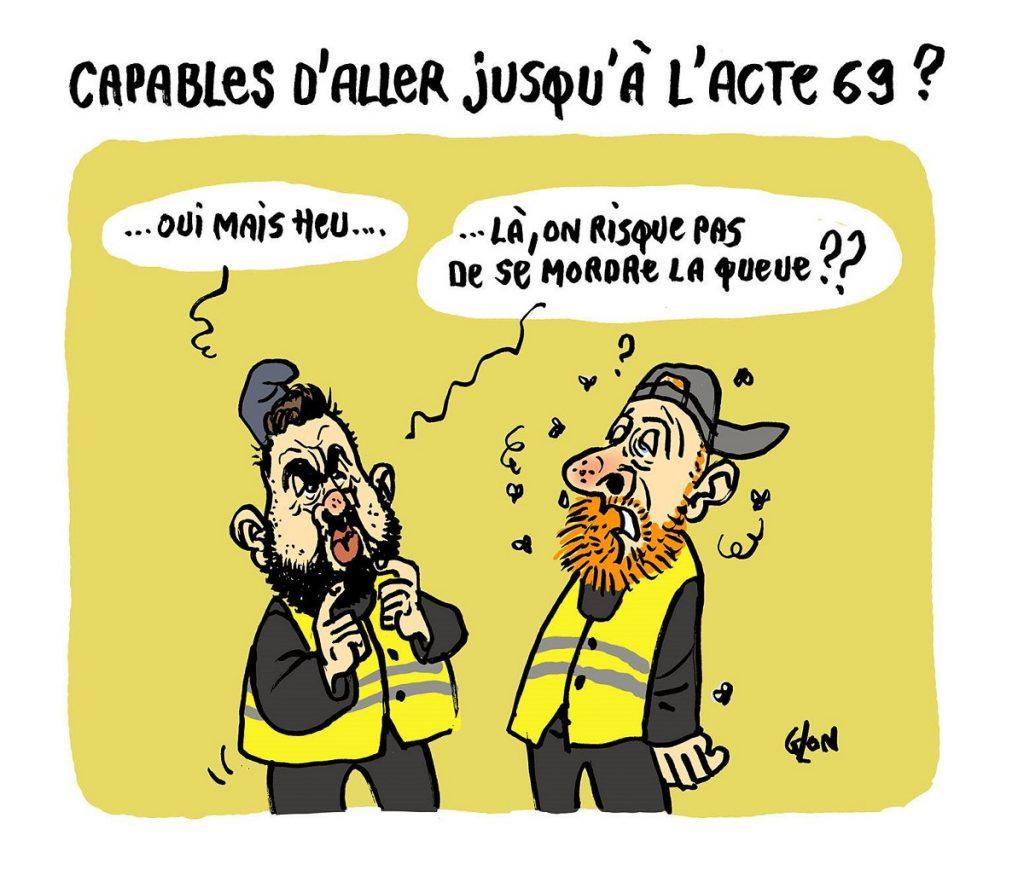 dessin d'actualité humoristique sur les leaders des gillets jaunes et la durée du mouvement