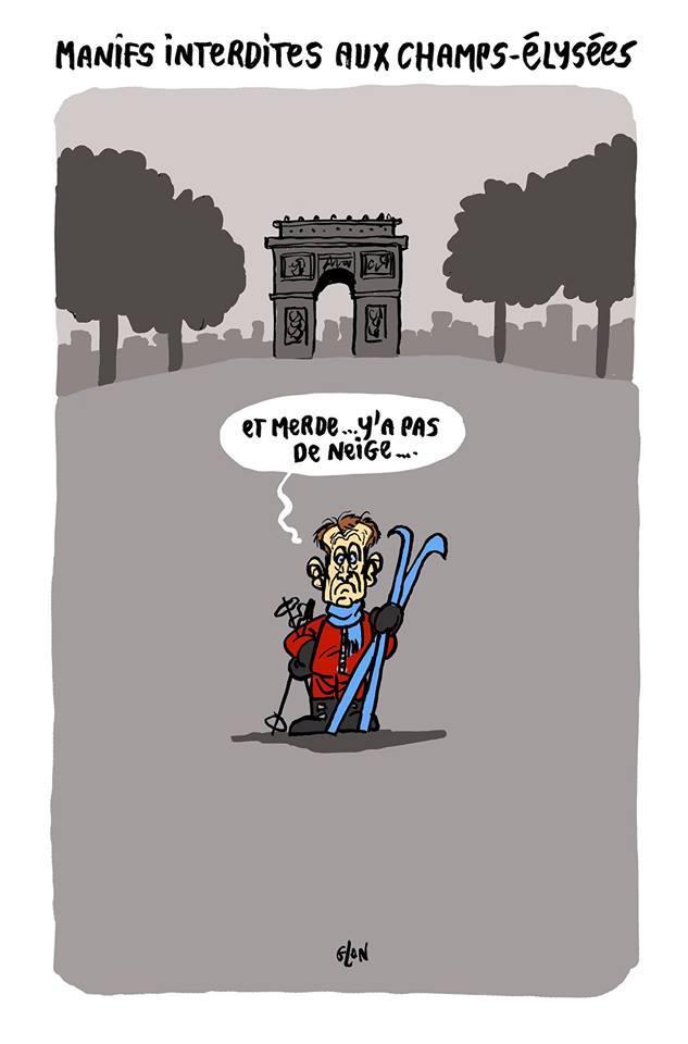dessin d'actualité humoristique sur l'acte 19 des gilets jaunes et le weekend au ski d'Emmanuel Macron