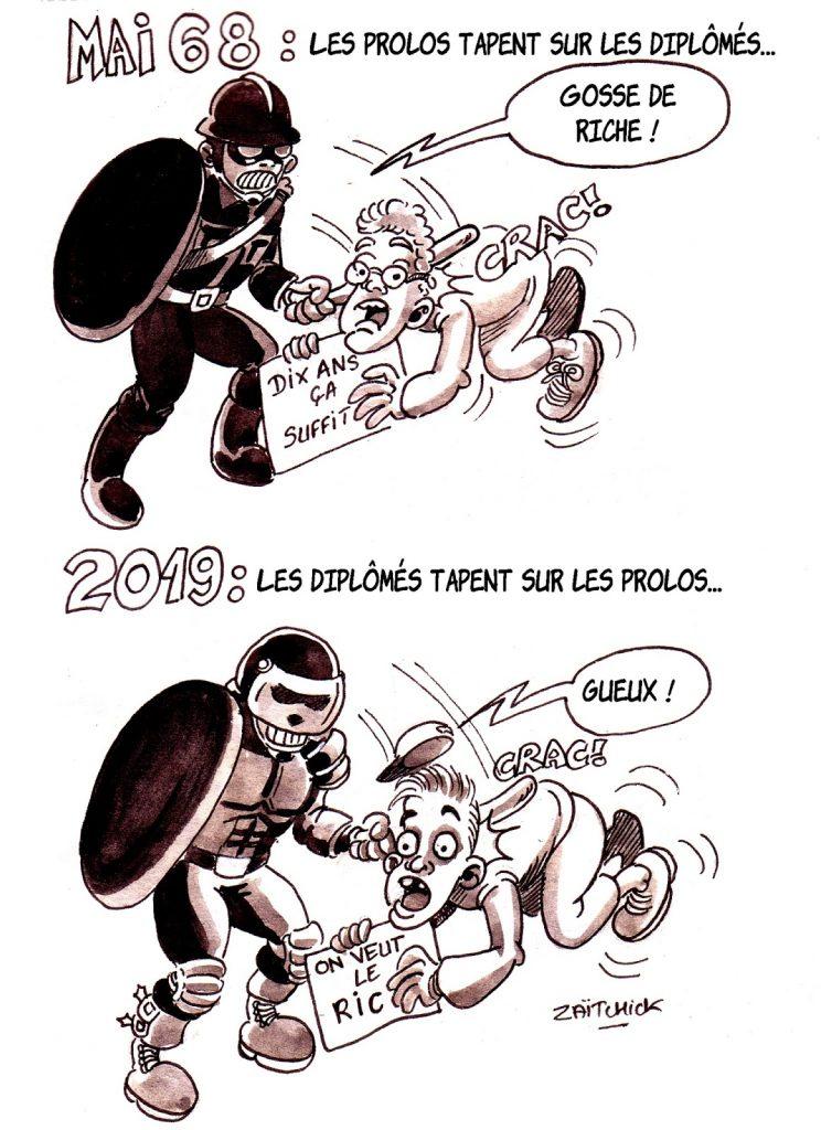 dessin d'actualité humoristique sur les manifestations de 2019 par rapport à celles de 1968