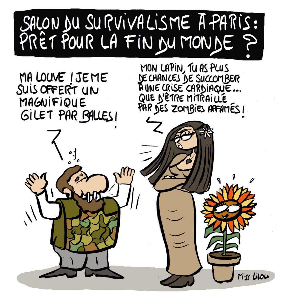 dessin d'actualité humoristique sur le salon du survivalisme à Paris