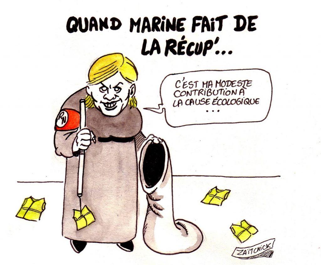 dessin d'actualité humoristique sur la récupération du mouvement des gilets jaunes par Marine Le Pen
