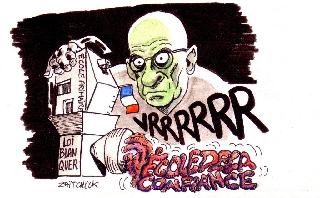 dessin d'actualité humoristique sur la loi Blanquer et l'éducation nationale