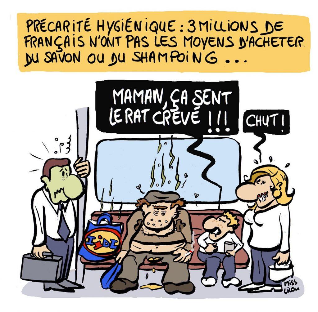 dessin d'actualité humoristique sur les français, l'hygiène et la précarité hygiénique