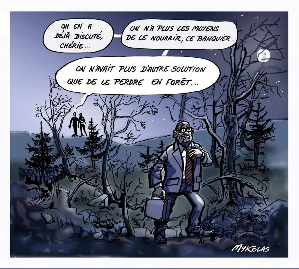 dessin d'actualité humoristique sur le coût faramineux des frais bancaires