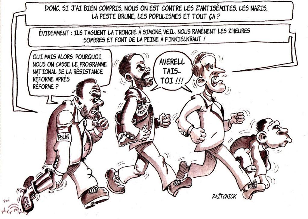 dessin d'actualité humoristique sur les réformes détruisant tout ce que le Programme National de la Résistance a mis en place