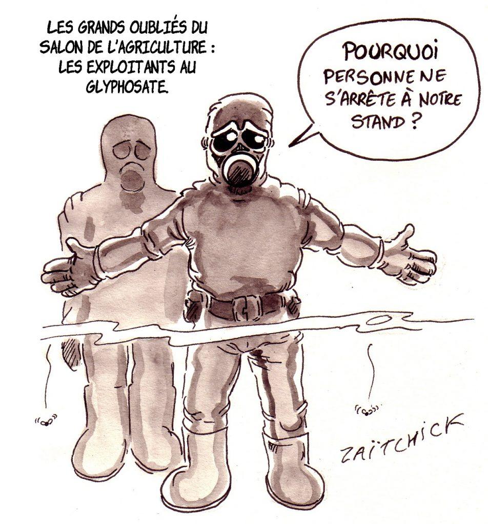 dessin d'actualité humoristique sur le glyphosate et le Salon International de l'Agriculture